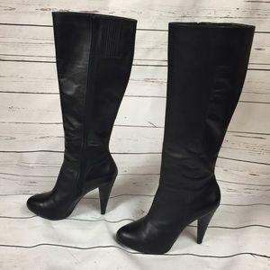 Gianni Bini Black leather heeled boots